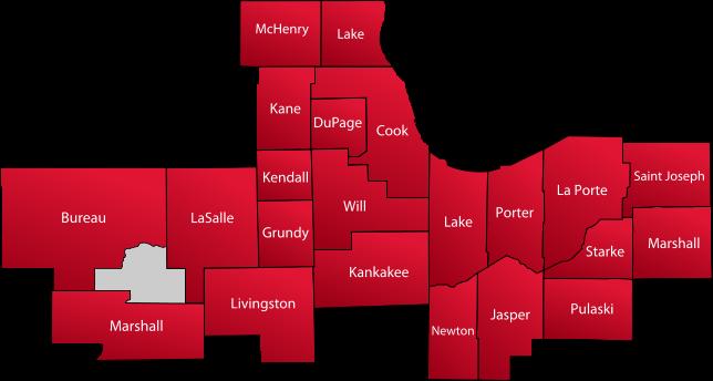 Illinois & Northwest Indiana map