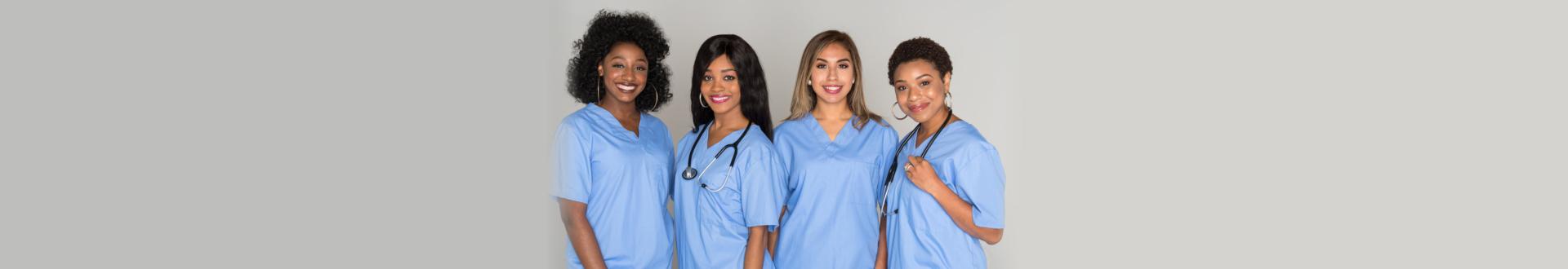 Large group of female nurses working together